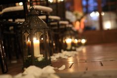 Perfect Winter Wedding Decor! Lanterns with pillar candles to line the aile at Willowdale Estate  in Topsfield, MA www.willowdaleestate.com