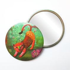 Round Pocket Makeup Mirror - Wild Cat Red Cat, Free Black, Black Mirror, French Artists, Small Gifts, Velvet, Pocket, Cats, Makeup