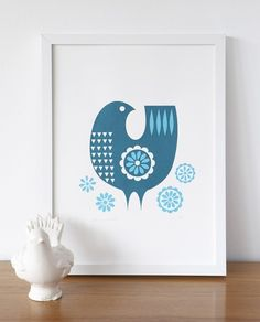 Teal daisybird screenprint by roddyandginger on Etsy. Scandinavian design.