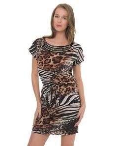 AREMO | Vestido Viscose Animalier