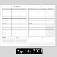 agenda 2021 français pour planner et agenda rechargeable, agenda papier daté 2021 par Shirley Chiche
