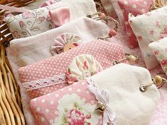 Fabric Embellished tag sachets ... sweet!