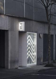 RAIN ROOM Branding, Wayfinding and Signage - Studio Ongarato Signage Design, Cafe Design, Store Design, Branding Design, Wayfinding Signs, Shop Facade, Pavilion Design, Environmental Graphics, Commercial Design