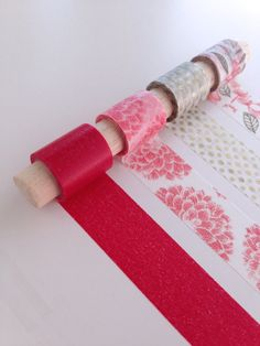 Bold Nature Washi Tape Set - Nature patterns with coordinating red and gold tape colors.