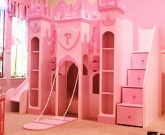 Princess Bunk Bed – If you want to make an authentic princess themed bedroom, you gonna need a castle bed. Princess Bunk Beds, Princess Castle Bed, Princess Room, Pink Princess, Pink Castle, Princess Bedrooms, Pink Bedrooms, Princess Beds For Girls, Princess Carriage Bed