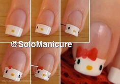 Hello kitty nails tutorial pic. Haha this is stupid looking but cute at the same time