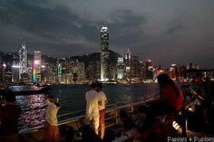 La baie de Hong Kong la nuit