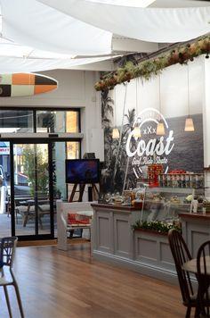 Inside Coast cafe and shop, Poole, Dorset Cafe Bistro, Cafe Bar, Cafe Restaurant, Restaurant Design, Coffee Shop Bar, Coffee Shops, Cafe Shop, Retail Space, Cafe Interior