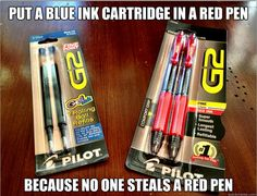 Keep pen thieves at bay with trickery....put a blue or black cartridge in a red pen.  Few people want to steal a red pen