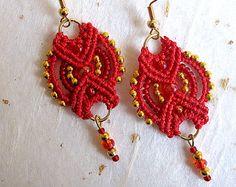Beaded micromacrame earrings drop earrings blue by JanislaJewels