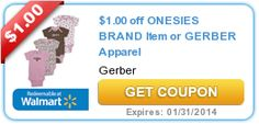 RARE Gerber Onesies Coupon for $1 Off ANY 1 Onesies Brand item or Gerber Apparel!