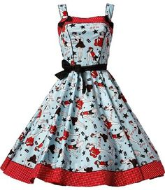 2715ec0b2fa Hell Bunny 50 s Retro Pinup Girls and Stars Art Print Blue Dixie Pin-up  Swing Dress (S) at Amazon Women s Clothing store