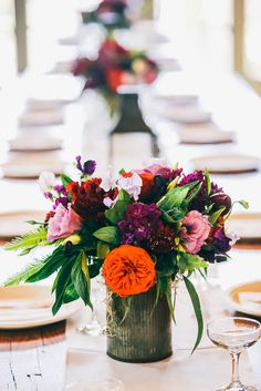 Colorful Flower Arrangement in Rustic Tin Vase | Emily Carter Floral Designs https://www.theknot.com/marketplace/emily-carter-floral-designs-freeport-me-361851 | Maine Tinker Photography