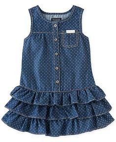 Guess Kids Dress, Little Girls Polka Dot Denim Dress Little Dresses, Little Girl Dresses, Girls Dresses, Toddler Dress, Baby Dress, Ruffle Dress, Infant Toddler, Little Girl Fashion, Kids Fashion