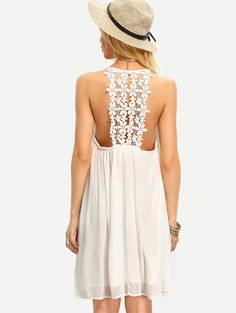 Online shopping for Beige Spaghetti Strap Crochet Patchwork Shift Dress from a great selection of women's fashion clothing & more at MakeMeChic.COM.