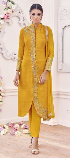 Splendid Yellow Designer Straight Cut Embroidered Suit