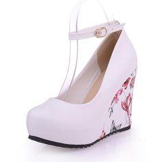 Women's Ankle Straps Platform Wedges High Heels Shoes 1209