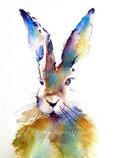 Rabbit Watercolor Art Print Colorful Spring Bunny Love Kid Art Children's Art Beho Art