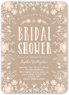 Bridal Shower Invitation: Flower Border, Rounded Corners, Pink