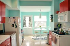 kitchen (red with teal/aqua/turquoise accents, pop of pink, orange, yellow, green. possible pattern choices: checker, damask, zinnia)
