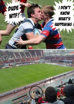 Rugby men kissing
