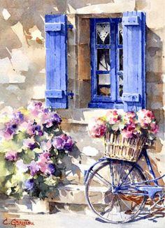 Christian Graniou-… - - Art World Cool Landscapes, Landscape Paintings, Arte Latina, Pastel Art, Art Sketchbook, Art Education, Watercolor Paintings, Watercolour, Simple Watercolor