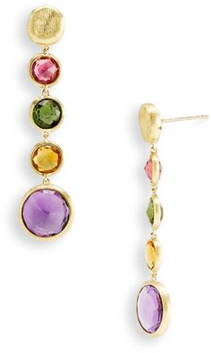 Marco Bicego Jaipur Semiprecious Stone Linear Earrings in Gold