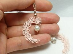 Tatted Earrings in soft pink with glass Pearls -Essence. $19.50, via Etsy.