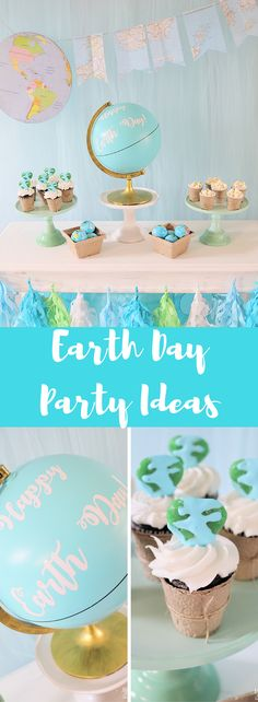 Celebrate Earth Day with a simple Earth Day Party table. Easy Earth themed decor & snacks are the perfect way to remind the kids to take care of our planet!