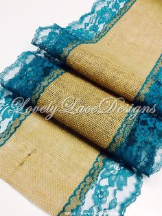 """Burlap Table Runner with Teal/Jade Lace, 5ft-10ft x16"""" Wide, Peacock Wedding Decor,Teal Weddings, table overlay, Home Decor, Rustic Weddings by LovelyLaceDesigns on Etsy"""