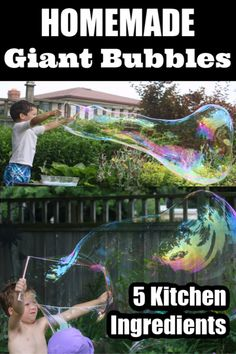 Blow your kids minds with these giant homemade bubbles! This recipe is the best one you'll find, and it's only 5 kitchen ingredients. Giant Bubble Recipe, Homemade Bubble Recipe, Homemade Bubbles, Bubble Activities, Summer Activities For Kids, Summer Kids, Toddler Activities, Big Bubble Wand, Bubble Wands