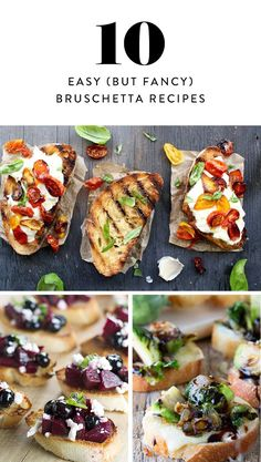 10 Easy But Fancy Bruschetta Recipes To Try At Home Food Fancy Appetizers, Italian Appetizers, Appetizer Recipes, Vegan Appetizers, Dinner Recipes, Sandwiches, Bruchetta Recipe, Easy Bruschetta Recipe, Bruschetta Toppings