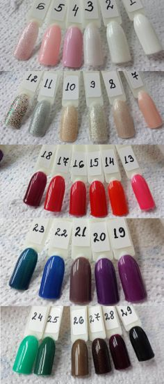 1. Whipped Cream 2. Ivory Tower 3. North Wind 4. Juliet 5. Sweet Melody 6. Debutante Ball 7. Goodie Two Shoes 8. Sparkling Embers 9. All That Glitters 10. Morroccan Spice 11. Polar Sky 12. Candy Blast 13. Flirty Flamenco 14. Vixen Rouge 15. Bing Cherries 16. Entralled 17. Luck of the Draw 18. Mogul 19. Indian Sari 20. HRH 21. Smokey Plum 22. Heart of the Ocean 23. Meteorite 24. Turtle Bay 25. Green Monster 26. Jungle Fever 27. Dolomite 28. Plum Raven 29. Black Lava