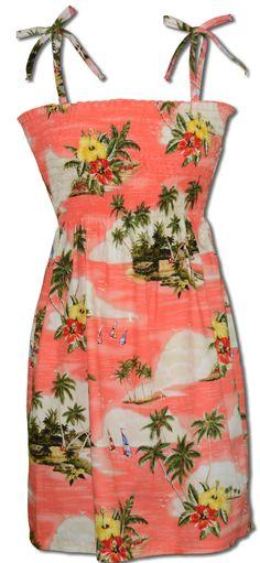 64e4fa820a Paradise Island Sailboats Women s Hawaiian Spaghetti Strap Smocked Sun Dress  with wrap-around stretch mid