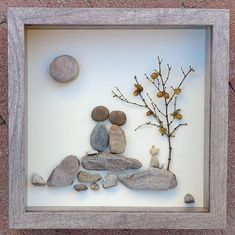 Best Indoor Garden Ideas for 2020 The number of internet users who are looking for… Pebble Pictures, Stone Pictures, Art Pictures, Stone Crafts, Rock Crafts, Shadow Box, Wooden Flower Boxes, Images D'art, Art Couple