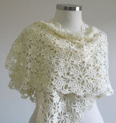 WEDDING IVORY SHAWL CROCHET BRIDAL HAND CROCHETED by filofashion