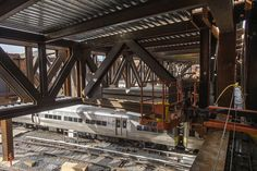 Work is progressing over LIRR West Side Yards as part of the Hudson Yards Real Estate Development. Metropolitan Transportation Authority, Custom Metal Fabrication, Hudson Yards, Side Yards, Real Estate Development, Steel Structure, Train, Bb, Photography