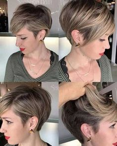 Hair Beauty - Pixie Hairstyles for the Best View. Pixie hairstyles have been mainstream among ladies for a long time. This a la mode haircut with a sh Pixie Bob Haircut, Short Pixie Haircuts, Haircuts With Bangs, Short Hairstyles For Women, Undercut Pixie, Female Hairstyles, Bob Haircuts, Pixie Long Bangs, Short Pixie Bob