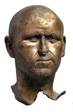 Gilt bronze bust of a man, perhaps an emperor, found in 1990 in a well located west of the entrance of the basilica on the forum square of Aquileia. 3rd century AD. Archaeological Museum of Aquileia.