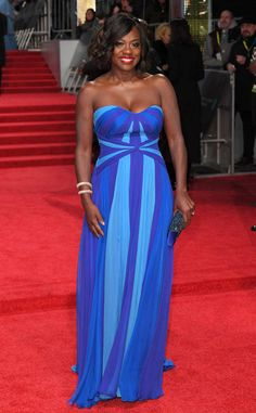 Viola Davis from 2017 BAFTA Film Awards: Red Carpet Arrivals  The Fences star wears blue on the red carpet.