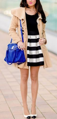 Stripes, neutrals + a pop of blue!