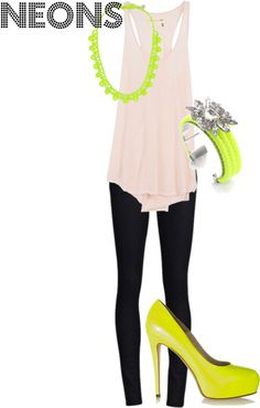 Wearing neon with pastels, created by msmarieball on Polyvore