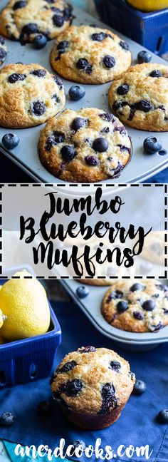 Delicious Jumbo Blueberry Muffins Recipe - A Nerd Cooks - - These Jumbo Blueberry Muffins are BIG, full of sweet blueberries, tangy lemon zest, and have domed, crunchy tops (thanks to turbinado sugar). Jumbo Blueberry Muffin Recipe, Blueberry Yogurt Muffins, Homemade Blueberry Muffins, Greek Yogurt Muffins, Jumbo Muffins, Blueberry Chocolate, Blueberry Recipes, Chocolate Chip Muffins, Blue Berry Muffins