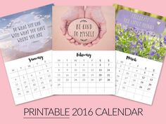 25% OFF  Printable Desktop Calendar 2016  by zoepower on Etsy