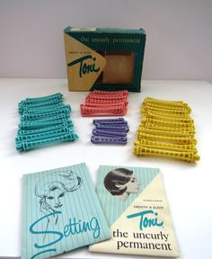 Vintage Toni Curler Rods - Original Box Instructions - 1950s Hair Dos - Permanent Wave Rollers Curlers - 4 Sizes Swing Arms - Home Perms by shabbyshopgirls on Etsy