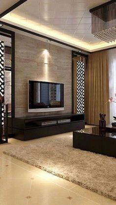 50 wall tv cabinet designs ideas for cozy family room 20 Living Room Partition Design, Living Room Tv Unit Designs, Room Partition Designs, Tv Cabinet Design, Tv Wall Design, House Design, Modern Tv Room, Modern Tv Wall Units, Modern Wall