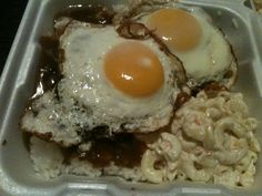 Breakfast for dinner, loco moco with a side of mac salad.