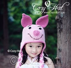Piglet Piggy Hat MADE to ORDER in ALL Sizes by CozyHat on Etsy