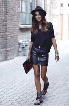 tight leather skirt & loose blouse