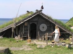"another-daughter-of-vikings: "" Viking museum, Foteviken por Johan Söderberg "" Viking House, Viking Life, Viking Woman, Viking Museum, Viking Village, Viking Culture, Norse Vikings, Primitive, Scandinavian"